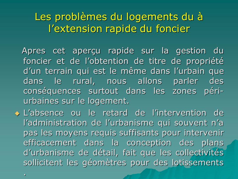 Les problèmes du logements du à lextension rapide du foncier Apres cet aperçu rapide sur la gestion du foncier et de lobtention de titre de propriété