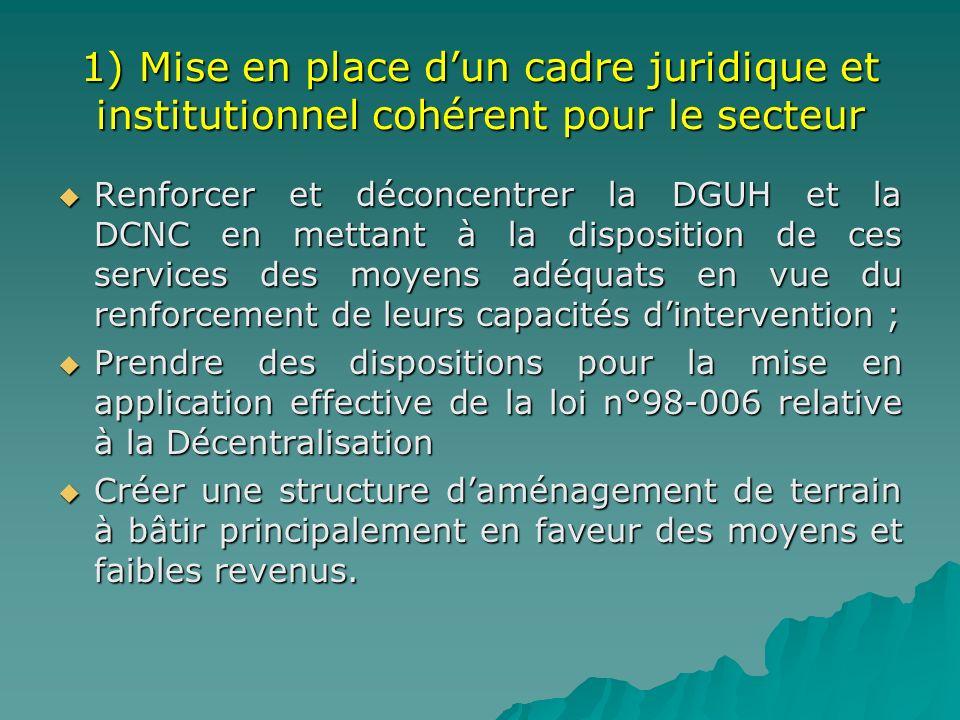 1) Mise en place dun cadre juridique et institutionnel cohérent pour le secteur Renforcer et déconcentrer la DGUH et la DCNC en mettant à la dispositi