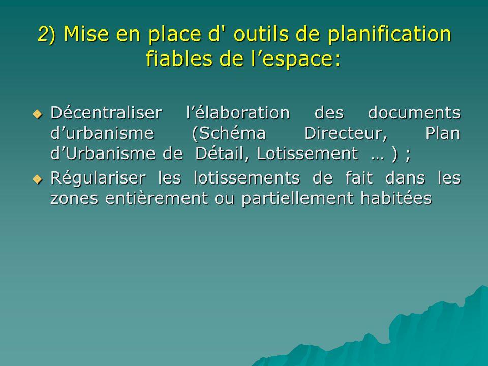 2 ) Mise en place d' outils de planification fiables de lespace: Décentraliser lélaboration des documents durbanisme (Schéma Directeur, Plan dUrbanism