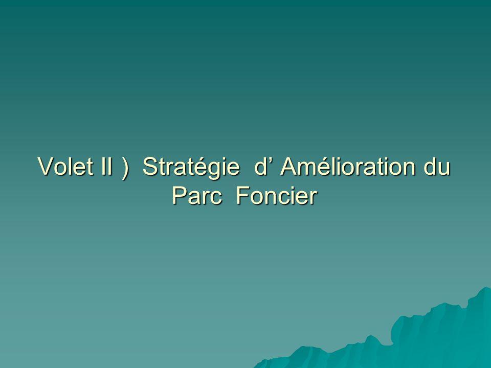Volet II ) Stratégie d Amélioration du Parc Foncier