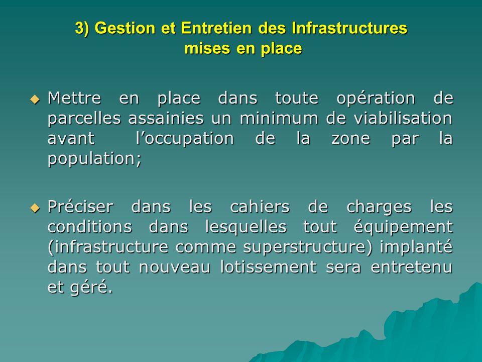 3) Gestion et Entretien des Infrastructures mises en place Mettre en place dans toute opération de parcelles assainies un minimum de viabilisation ava
