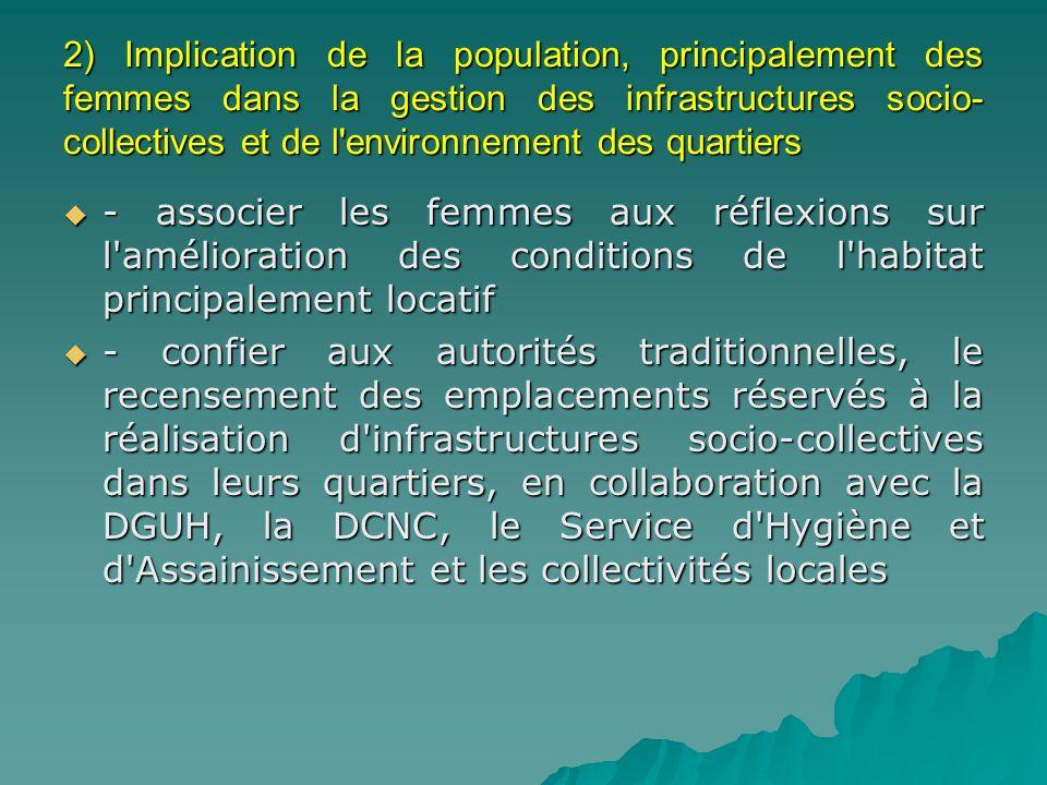 2) Implication de la population, principalement des femmes dans la gestion des infrastructures socio- collectives et de l'environnement des quartiers