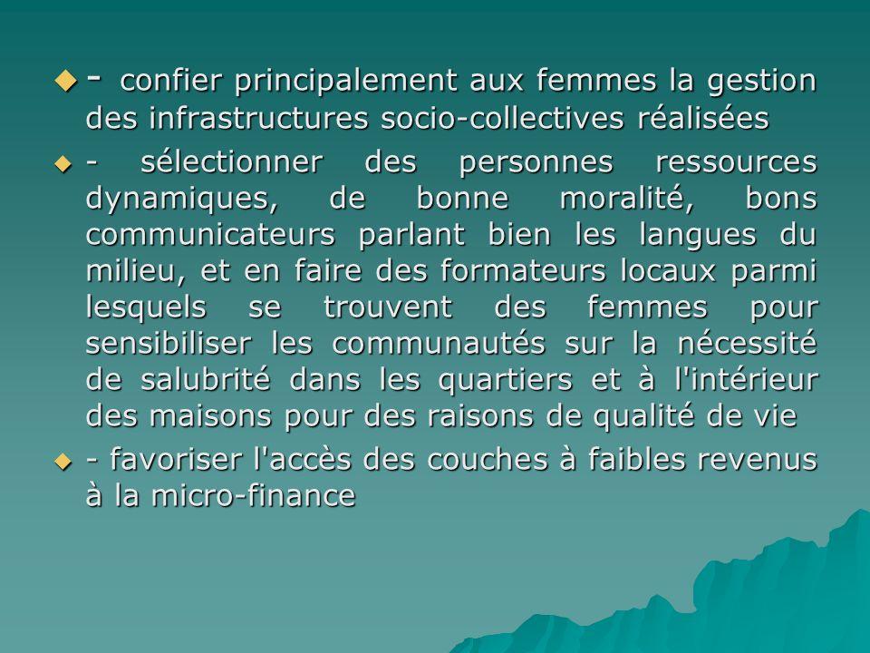 - confier principalement aux femmes la gestion des infrastructures socio-collectives réalisées - confier principalement aux femmes la gestion des infr