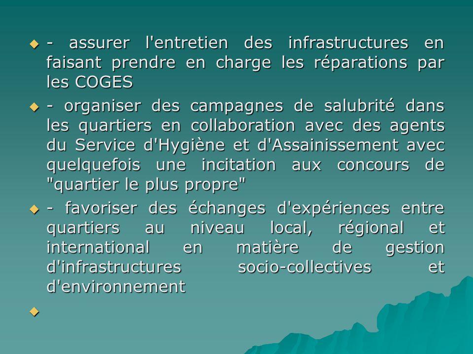 - assurer l'entretien des infrastructures en faisant prendre en charge les réparations par les COGES - assurer l'entretien des infrastructures en fais