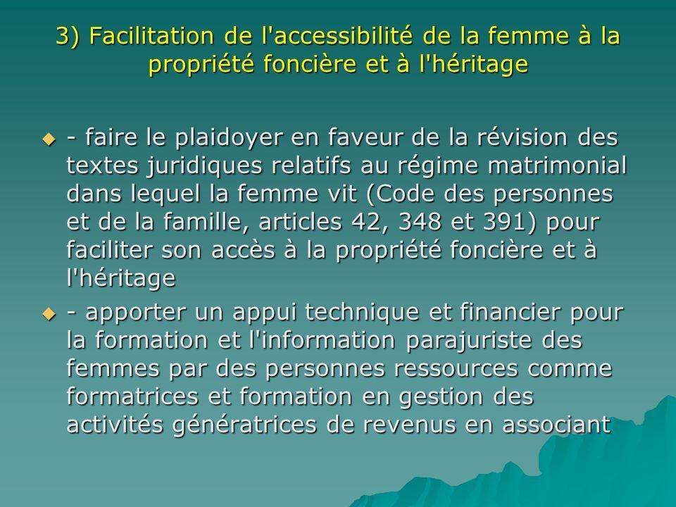 3) Facilitation de l'accessibilité de la femme à la propriété foncière et à l'héritage - faire le plaidoyer en faveur de la révision des textes juridi