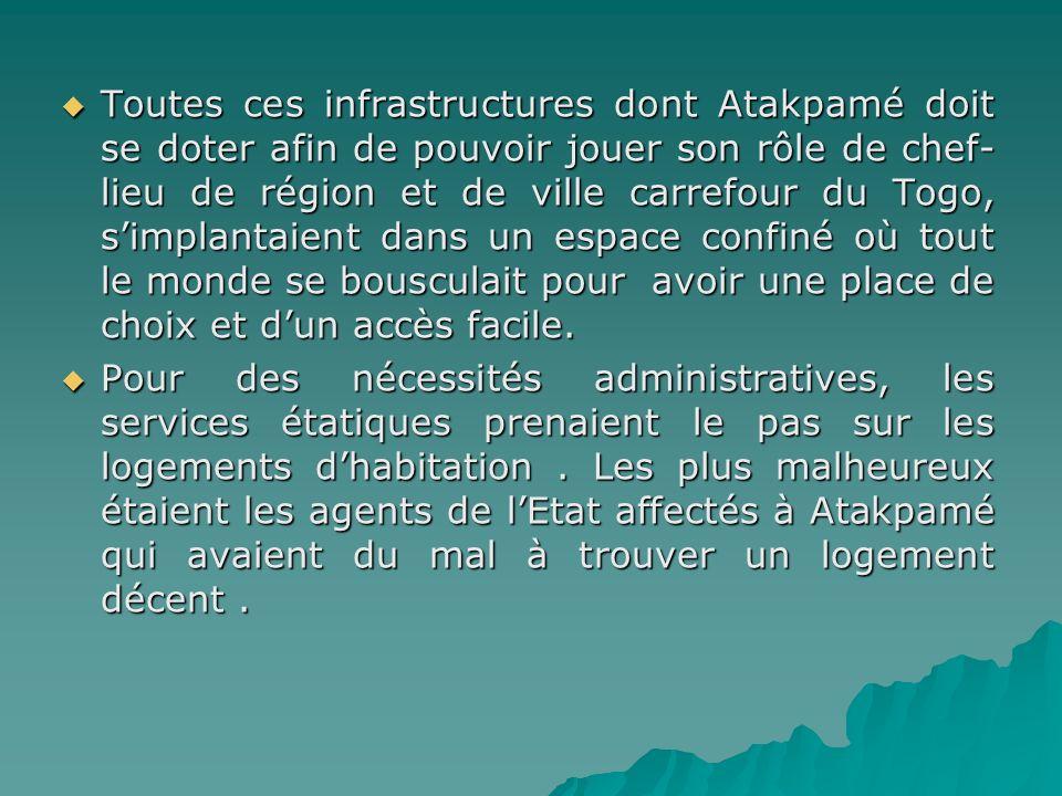Toutes ces infrastructures dont Atakpamé doit se doter afin de pouvoir jouer son rôle de chef- lieu de région et de ville carrefour du Togo, simplanta