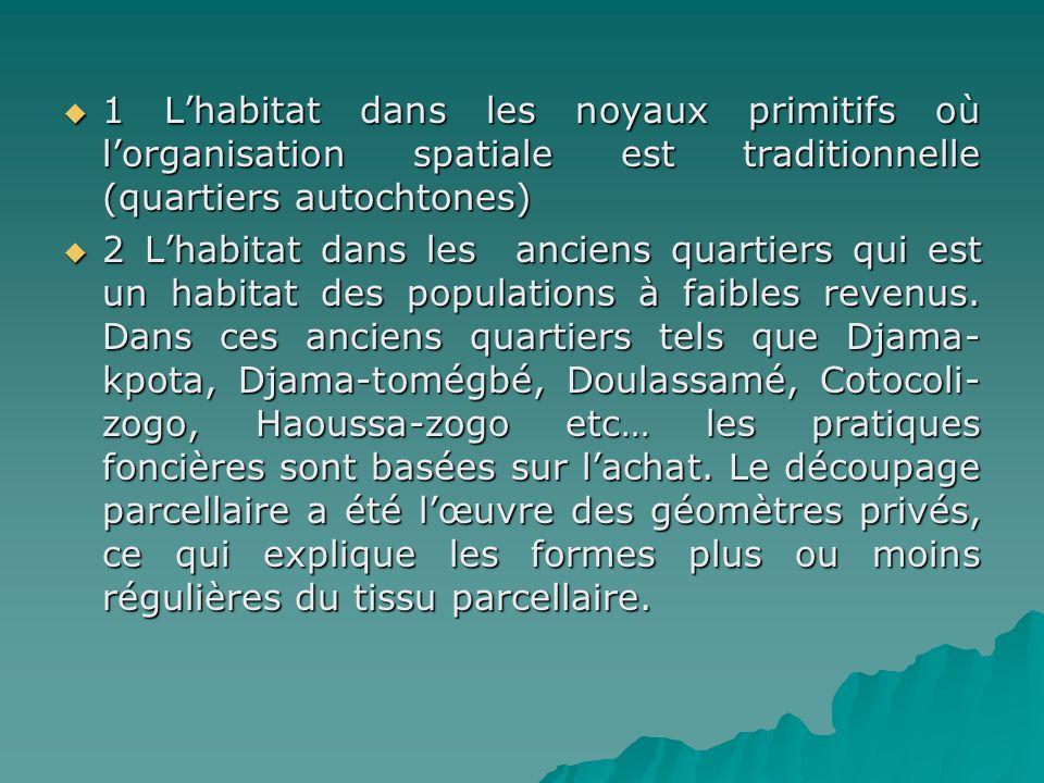 1 Lhabitat dans les noyaux primitifs où lorganisation spatiale est traditionnelle (quartiers autochtones) 1 Lhabitat dans les noyaux primitifs où lorg