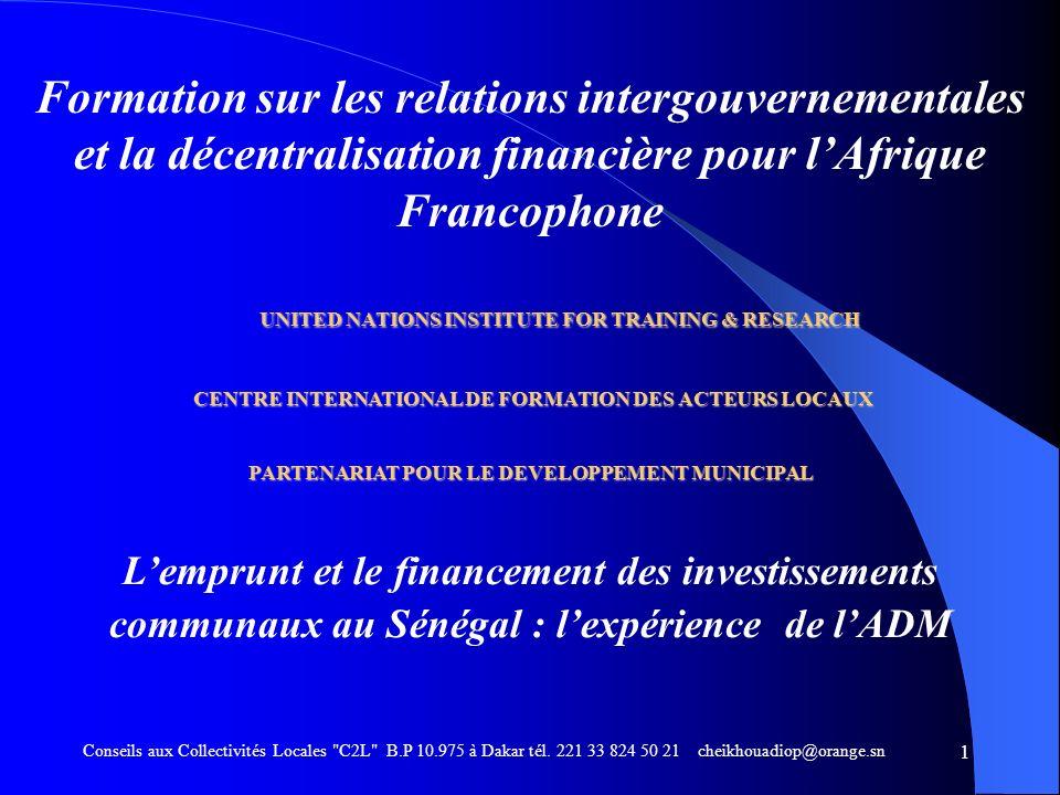 SOMMAIRE Contexte institutionnel décentralisation Programme dAppui aux Communes (PAC) 1998 – 2005 Agence de Développement Municipal (ADM) Procédures du PAC Bilan du PAC Programme de Renforcement et dEquipement des Collectivités Locales (PRECOL) 2007 - 2011 Conseils aux Collectivités Locales C2L B.P 10.975 à Dakar tél.