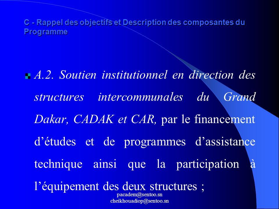 pacadem@sentoo.sn cheikhouadiop@sentoo.sn C - Rappel des objectifs et Description des composantes du Programme A.2. Soutien institutionnel en directio