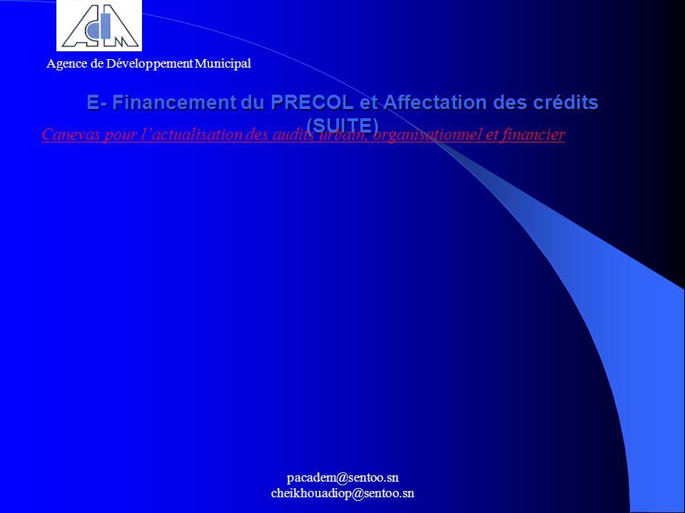 pacadem@sentoo.sn cheikhouadiop@sentoo.sn E- Financement du PRECOL et Affectation des crédits (SUITE) Canevas pour lactualisation des audits urbain, o