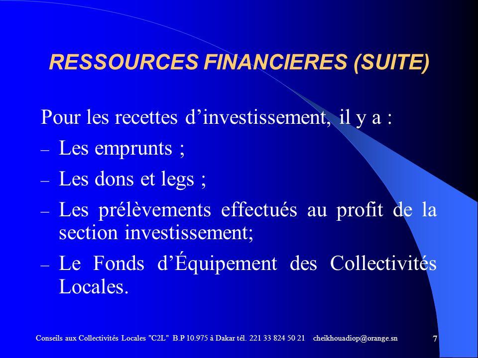 Programme dAppui aux Communes 1998 - 2005 Conseils aux Collectivités Locales C2L B.P 10.975 à Dakar tél.
