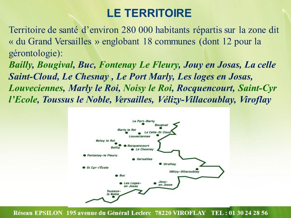 Réseau EPSILON 195 avenue du Général Leclerc 78220 VIROFLAY TEL : 01 30 24 28 56 LE TERRITOIRE Territoire de santé denviron 280 000 habitants répartis