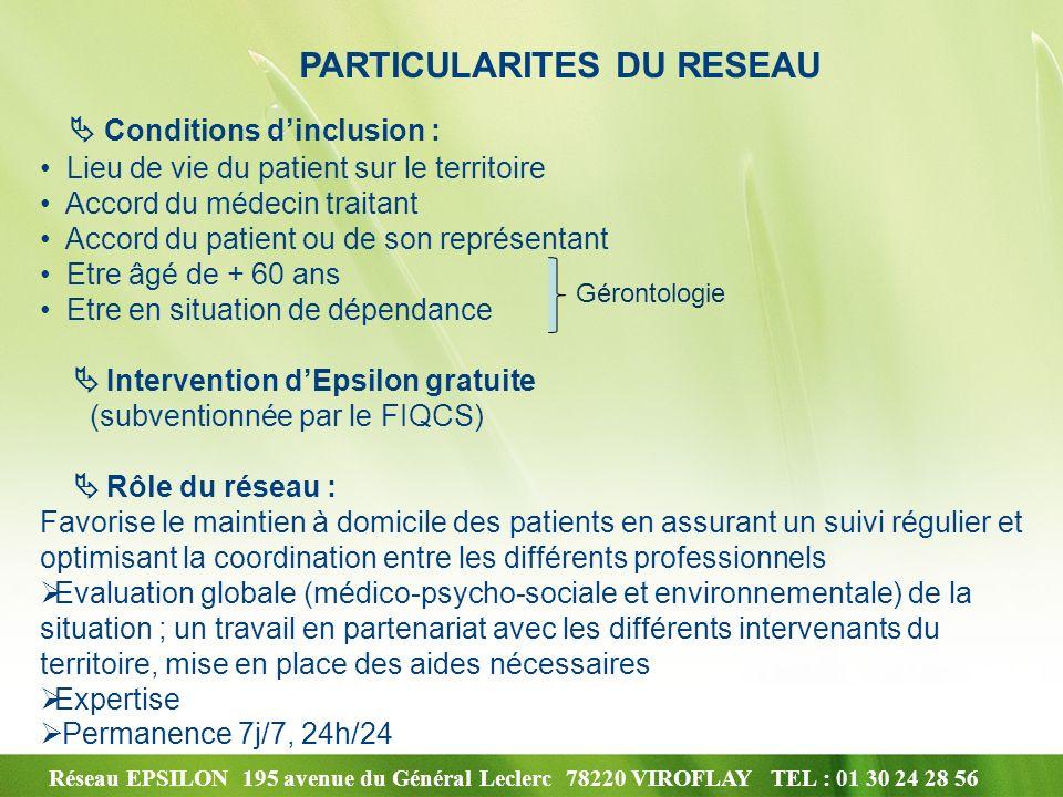 Réseau EPSILON 195 avenue du Général Leclerc 78220 VIROFLAY TEL : 01 30 24 28 56 PARTICULARITES DU RESEAU Conditions dinclusion : Lieu de vie du patie