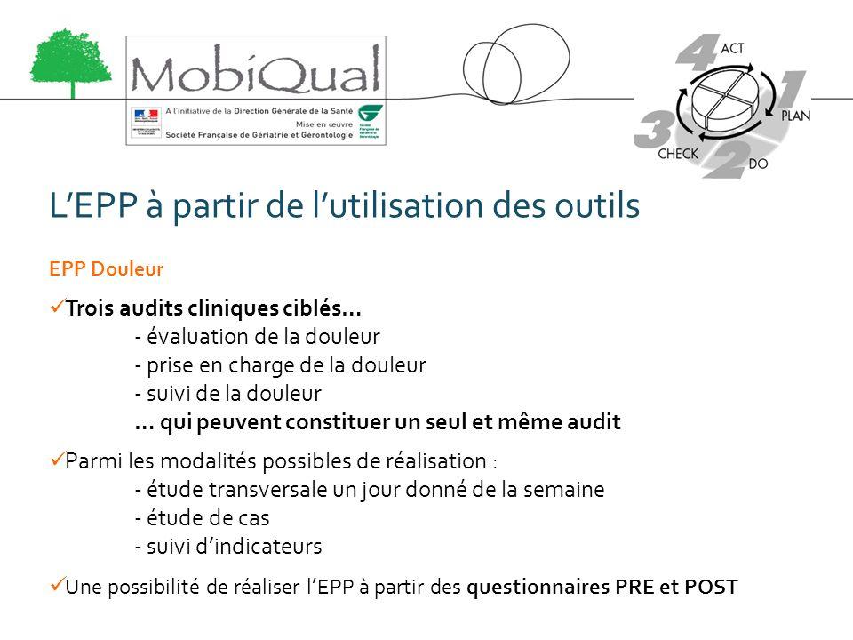 LEPP à partir de lutilisation des outils EPP Douleur Trois audits cliniques ciblés… - évaluation de la douleur - prise en charge de la douleur - suivi