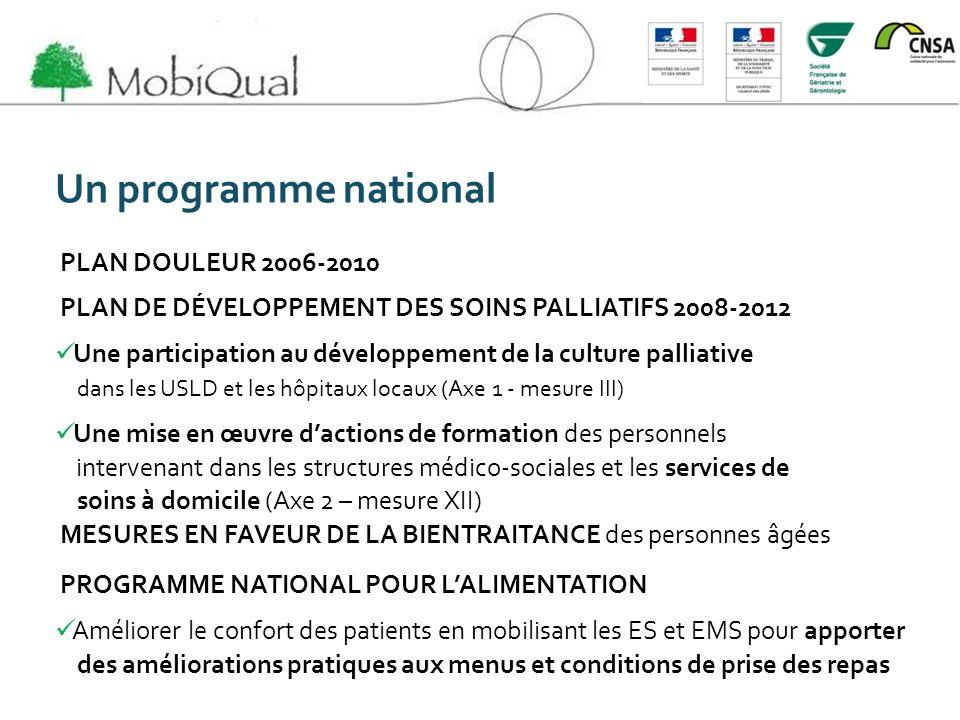 Un programme national PLAN DOULEUR 2006-2010 PLAN DE DÉVELOPPEMENT DES SOINS PALLIATIFS 2008-2012 Une participation au développement de la culture pal