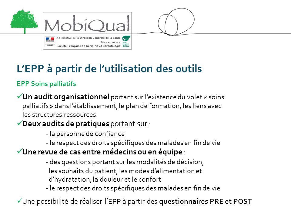 LEPP à partir de lutilisation des outils EPP Soins palliatifs Un audit organisationnel portant sur lexistence du volet « soins palliatifs » dans létab