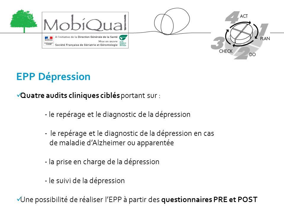 EPP Dépression Quatre audits cliniques ciblés portant sur : - le repérage et le diagnostic de la dépression - le repérage et le diagnostic de la dépre