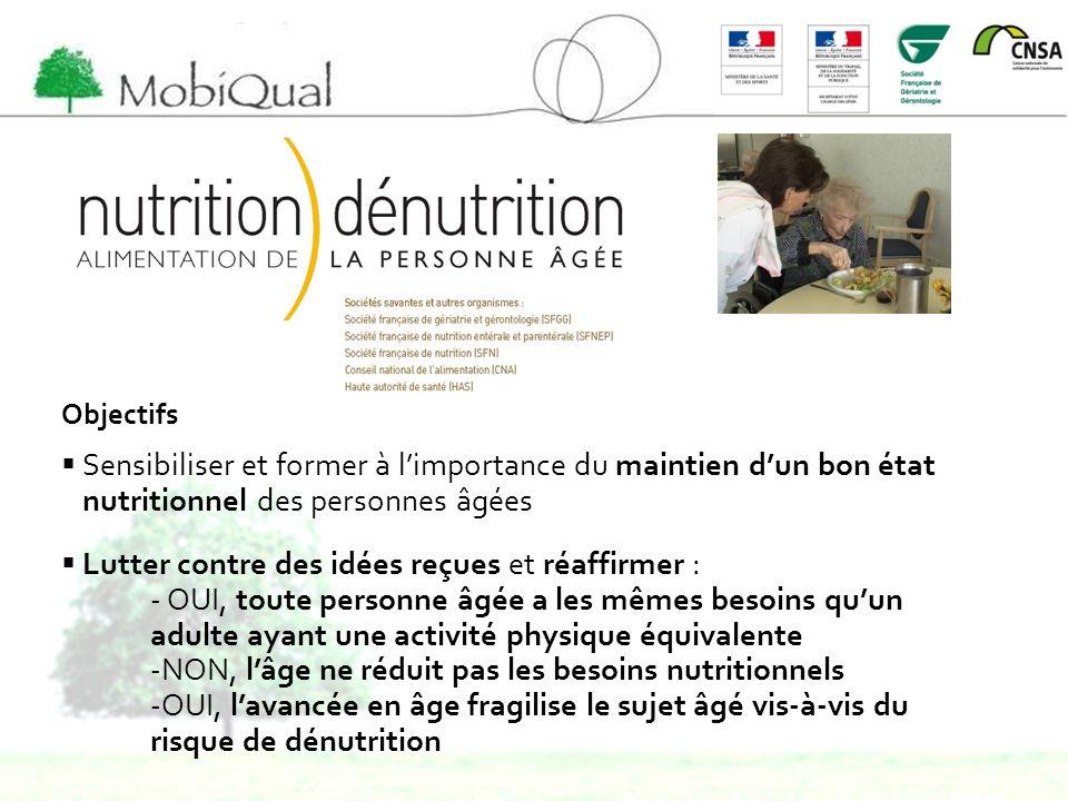 Objectifs Sensibiliser et former à limportance du maintien dun bon état nutritionnel des personnes âgées Lutter contre des idées reçues et réaffirmer