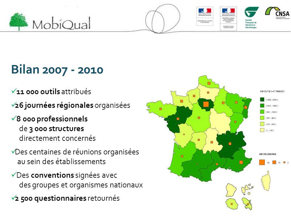 Bilan 2007 - 2010 11 000 outils attribués 26 journées régionales organisées 8 000 professionnels de 3 000 structures directement concernés Des centain