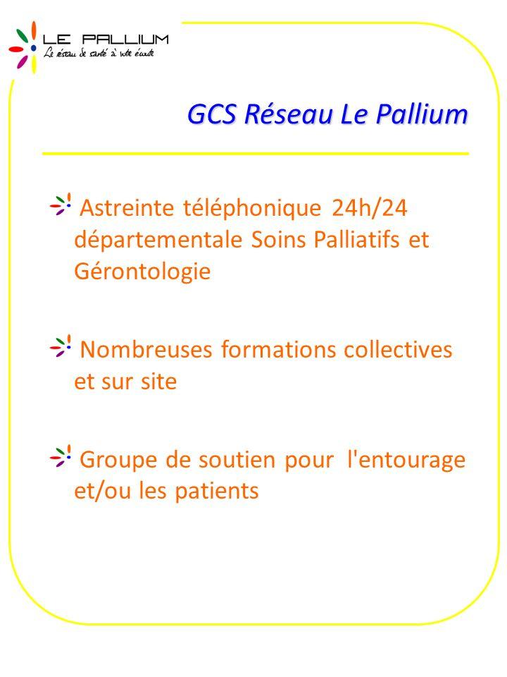 Astreinte téléphonique 24h/24 départementale Soins Palliatifs et Gérontologie Nombreuses formations collectives et sur site Groupe de soutien pour l'e