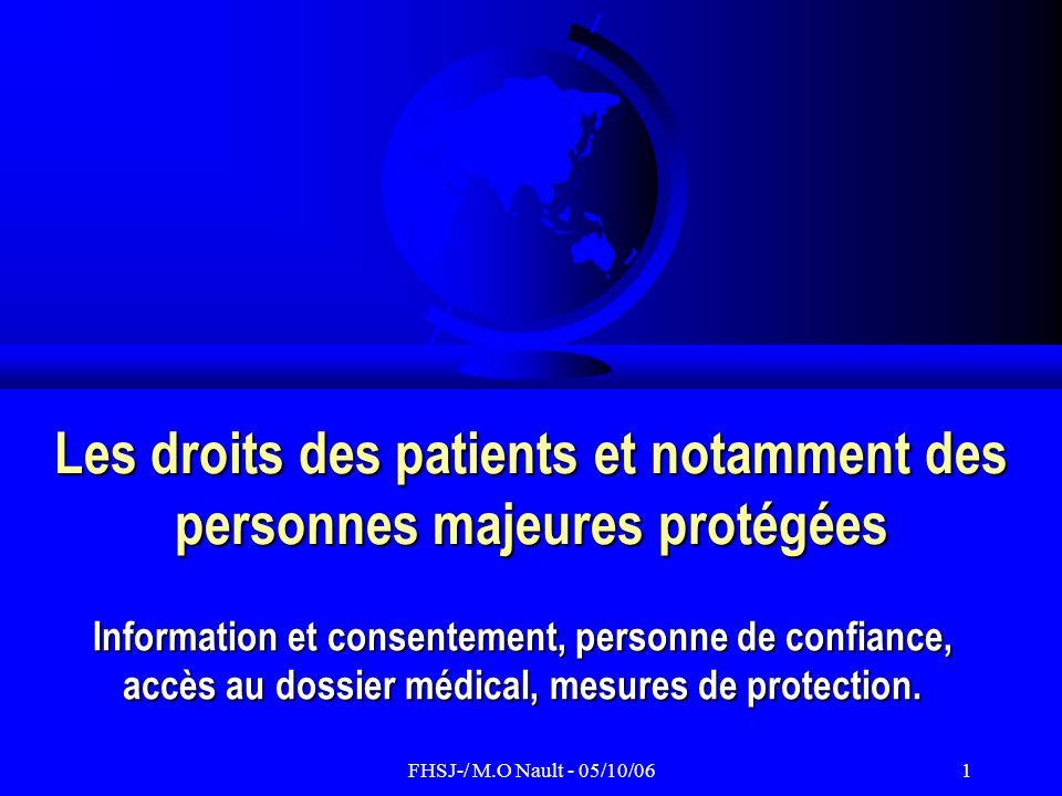 FHSJ-/ M.O Nault - 05/10/0612 Accès du patient à son dossier médical Les grands principes