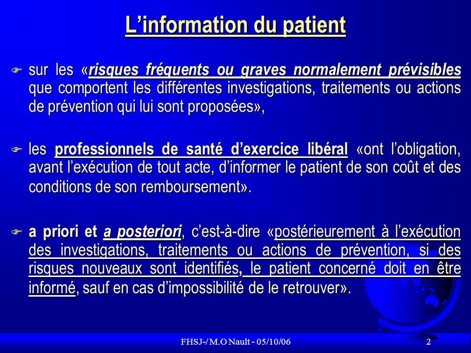 FHSJ-/ M.O Nault - 05/10/06 13 Historique de laccès au dossier Avant 1992 Pas daccès du patient aux éléments médicaux de son dossier.