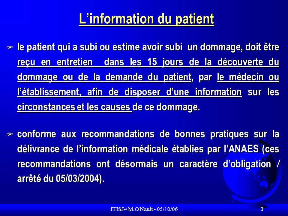FHSJ-/ M.O Nault - 05/10/06 4 Informations médicales et patient majeur protégé Dans les trois cas (sauvegarde de justice, curatelle, tutelle), linformation médicale est donnée au majeur.