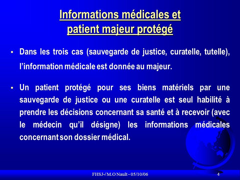 FHSJ-/ M.O Nault - 05/10/06 5 Informations médicales et patient majeur protégé Dans le cas du patient sous tutelle, linformation médicale adaptée à ses facultés de discernement doit lui permettre de participer si possible à la prise de décision.