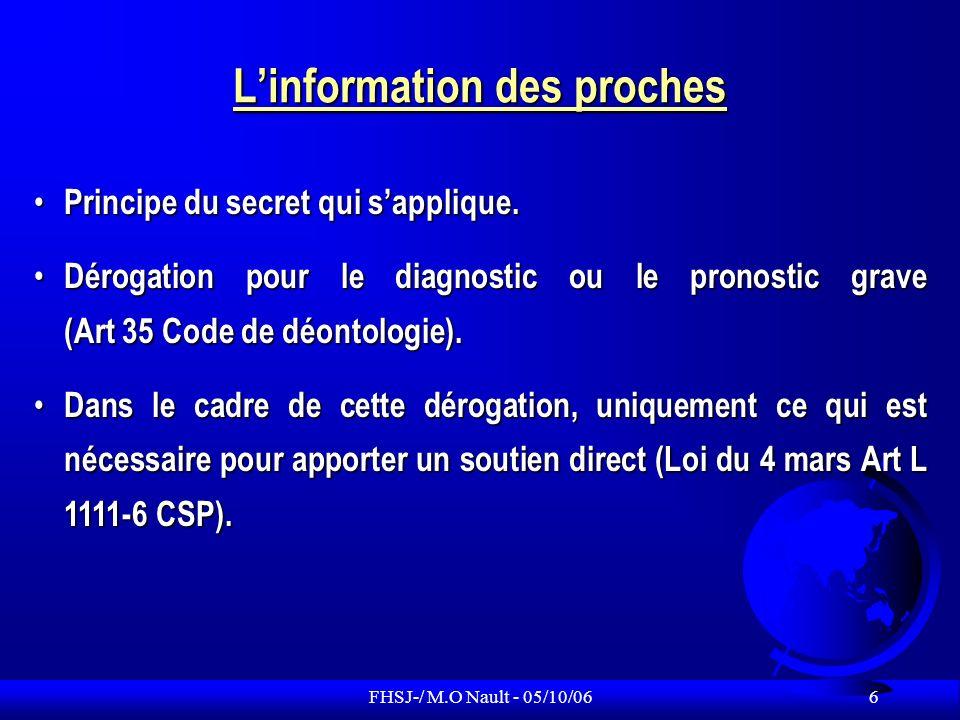 FHSJ-/ M.O Nault - 05/10/06 7 Information : renversement de la charge de la preuve Arrêt Hédreul du 25/04/1997 : la charge de la preuve en matière dinformation incombe désormais au médecin ou au professionnel de santé.