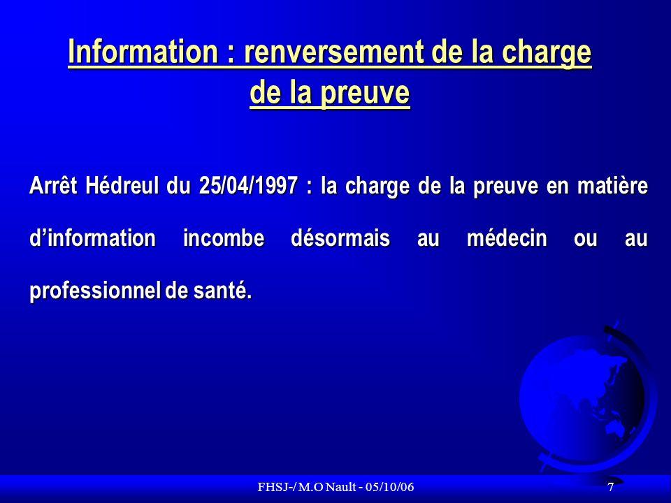 FHSJ-/ M.O Nault - 05/10/06 8 Le consentement du patient F Le patient doit exprimer un consentement libre et éclairé avant tout acte médical ou traitement, révocable à tout moment.