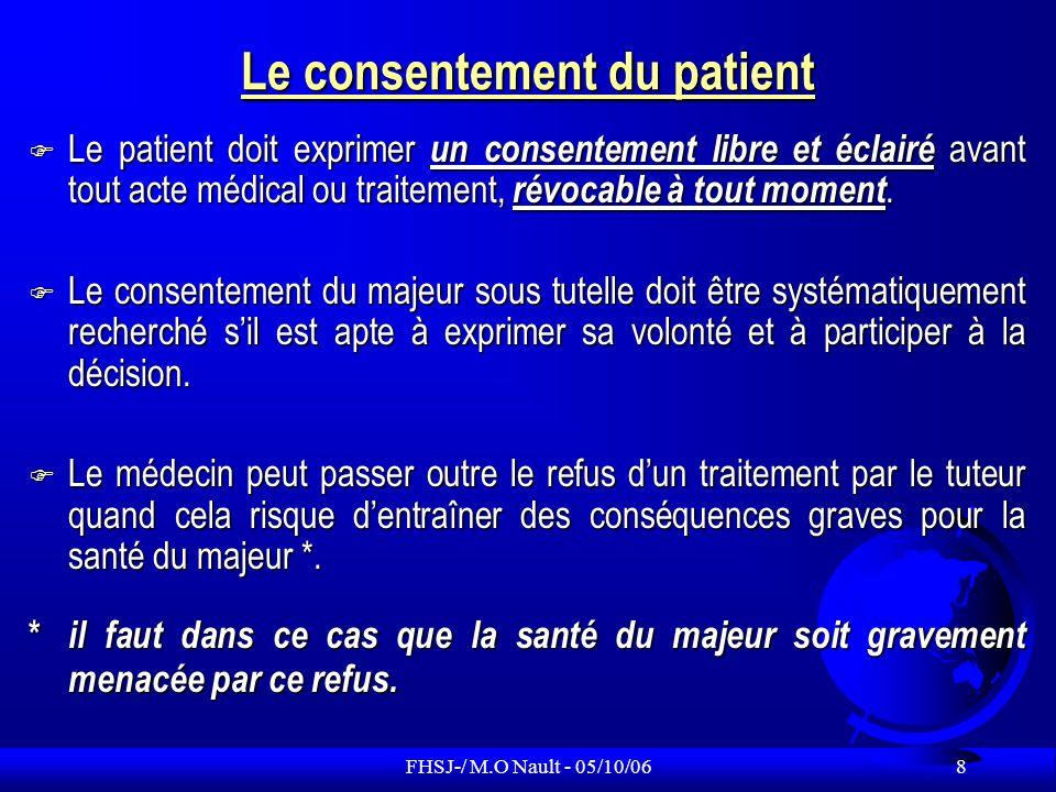 FHSJ-/ M.O Nault - 05/10/06 39 Le médecin peut-il donner son avis au juge sur léventuel tuteur .