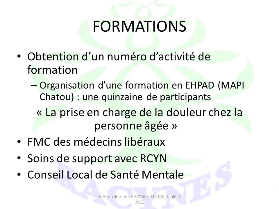 FORMATIONS Obtention dun numéro dactivité de formation – Organisation dune formation en EHPAD (MAPI Chatou) : une quinzaine de participants « La prise