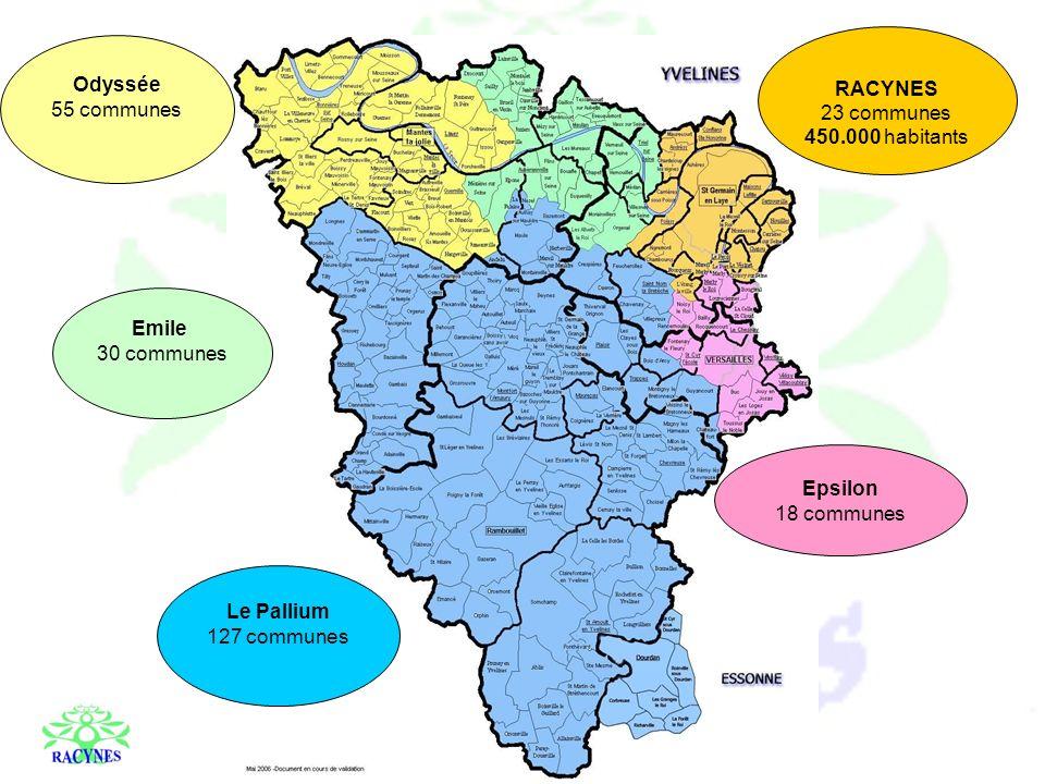 Odyssée 55 communes RACYNES 23 communes 450.000 habitants Le Pallium 127 communes Emile 30 communes Epsilon 18 communes