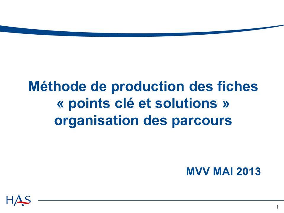 MVV MAI 2013 Méthode de production des fiches « points clé et solutions » organisation des parcours 1