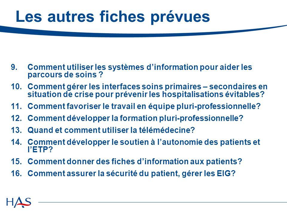 Les autres fiches prévues 9.Comment utiliser les systèmes dinformation pour aider les parcours de soins .
