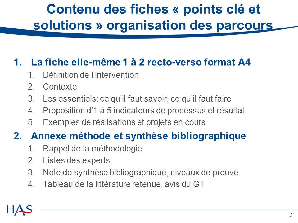 3 Contenu des fiches « points clé et solutions » organisation des parcours 1.La fiche elle-même 1 à 2 recto-verso format A4 1.Définition de lintervention 2.Contexte 3.Les essentiels: ce quil faut savoir, ce quil faut faire 4.Proposition d1 à 5 indicateurs de processus et résultat 5.Exemples de réalisations et projets en cours 2.Annexe méthode et synthèse bibliographique 1.Rappel de la méthodologie 2.Listes des experts 3.Note de synthèse bibliographique, niveaux de preuve 4.Tableau de la littérature retenue, avis du GT