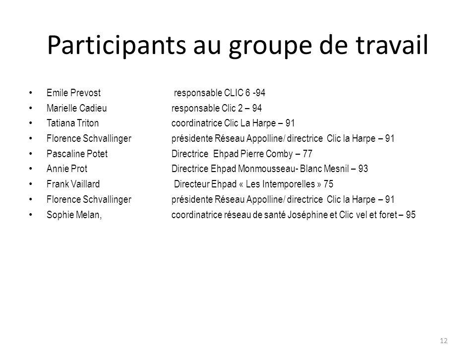 Participants au groupe de travail Emile Prevost responsable CLIC 6 -94 Marielle Cadieu responsable Clic 2 – 94 Tatiana Triton coordinatrice Clic La Ha