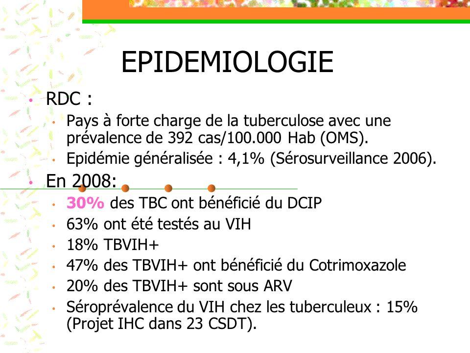 QUELQUES INTERVENTIONS Sur le plan managérial : Existence dun plan conjoint de lutte contre la coinfection TB/VIH Existence des normes, directives et outils de collecte Renforcement des capacités : Niveau central : 1 point focal PNLS et PNT formés Niveau provincial : 11MCP PNLS et 24 MCP PNT formés périphérique: 1014 prestataires des structures concernées sont formés (soit 25%) Supervisions conjointes PNLS/PNT