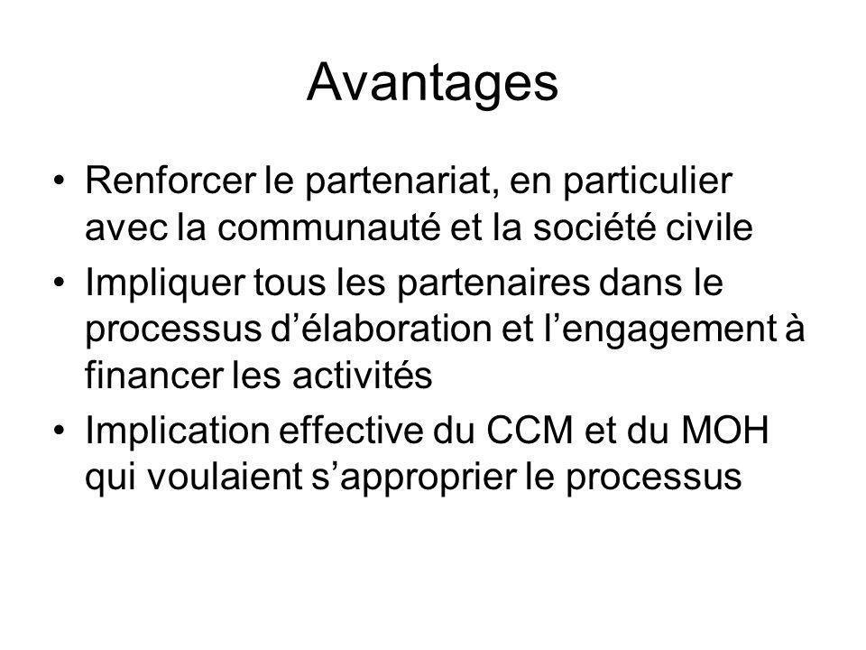 Avantages Renforcer le partenariat, en particulier avec la communauté et la société civile Impliquer tous les partenaires dans le processus délaboration et lengagement à financer les activités Implication effective du CCM et du MOH qui voulaient sapproprier le processus