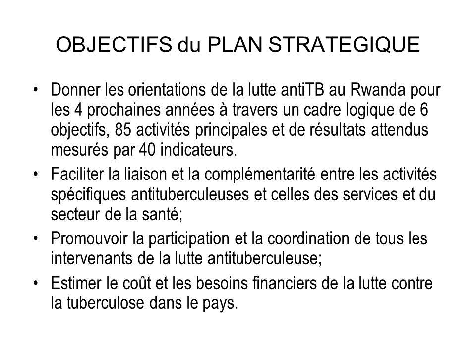 Structure du plan Ce plan comprend Les 6 objectifs de la stratégie Halte à la TB 16 objectifs spécifiques appelés également Domaines de Prestation des Services (DPS), 85 activités principales mesurés par 38 indicateurs de résultats/moyens et 2 indicateurs d impact.