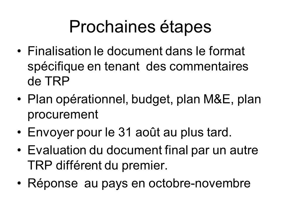 Prochaines étapes Finalisation le document dans le format spécifique en tenant des commentaires de TRP Plan opérationnel, budget, plan M&E, plan procurement Envoyer pour le 31 août au plus tard.