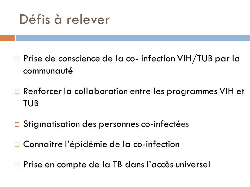 Défis à relever Prise de conscience de la co- infection VIH/TUB par la communauté Renforcer la collaboration entre les programmes VIH et TUB Stigmatis