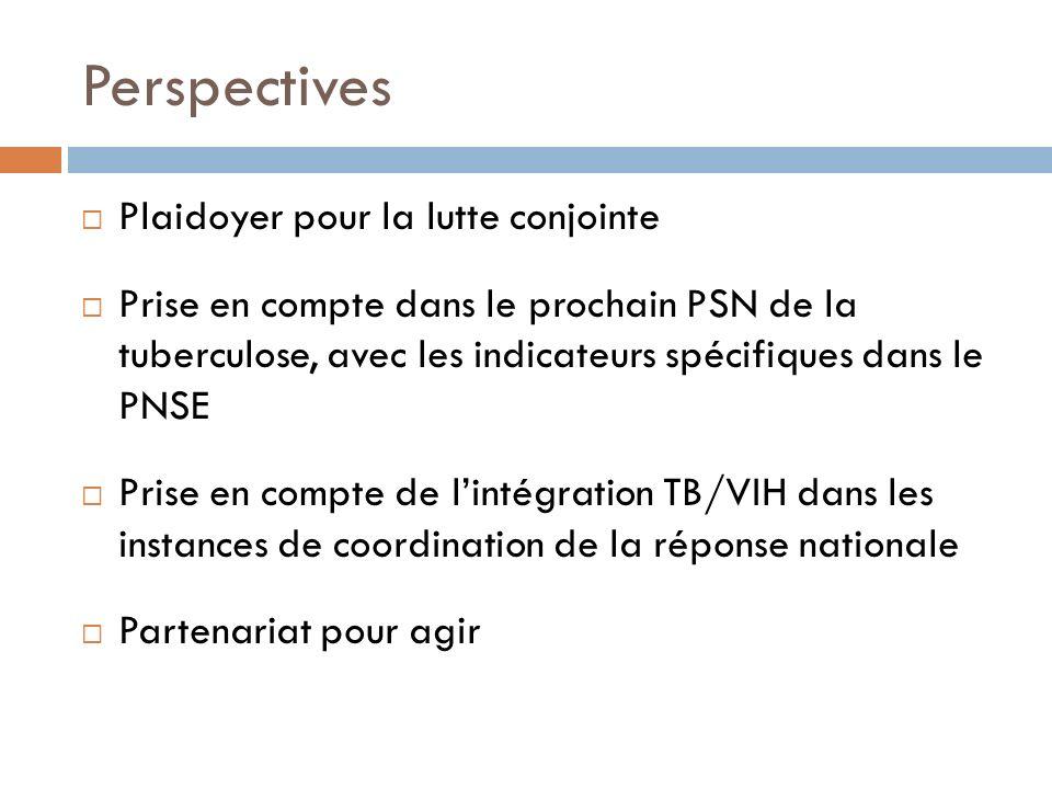 Perspectives Plaidoyer pour la lutte conjointe Prise en compte dans le prochain PSN de la tuberculose, avec les indicateurs spécifiques dans le PNSE P