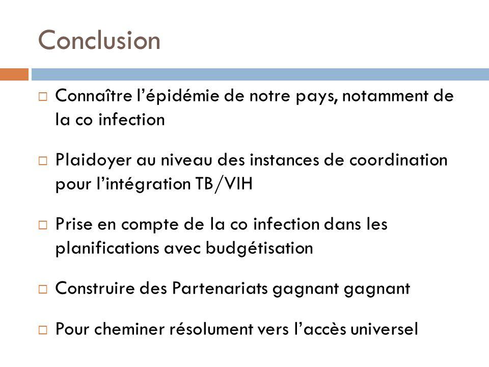 Conclusion Connaître lépidémie de notre pays, notamment de la co infection Plaidoyer au niveau des instances de coordination pour lintégration TB/VIH
