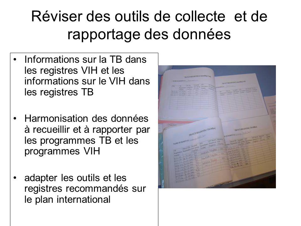Réviser des outils de collecte et de rapportage des données Informations sur la TB dans les registres VIH et les informations sur le VIH dans les registres TB Harmonisation des données à recueillir et à rapporter par les programmes TB et les programmes VIH adapter les outils et les registres recommandés sur le plan international