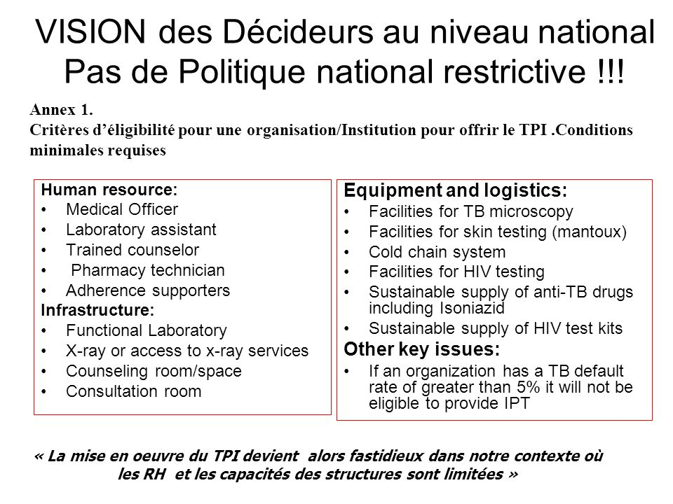 VISION des Décideurs au niveau national Pas de Politique national restrictive !!.