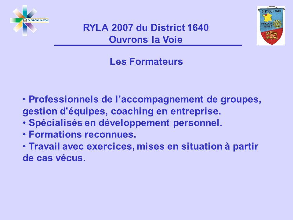 RYLA 2007 du District 1640 Ouvrons la Voie Professionnels de laccompagnement de groupes, gestion déquipes, coaching en entreprise.
