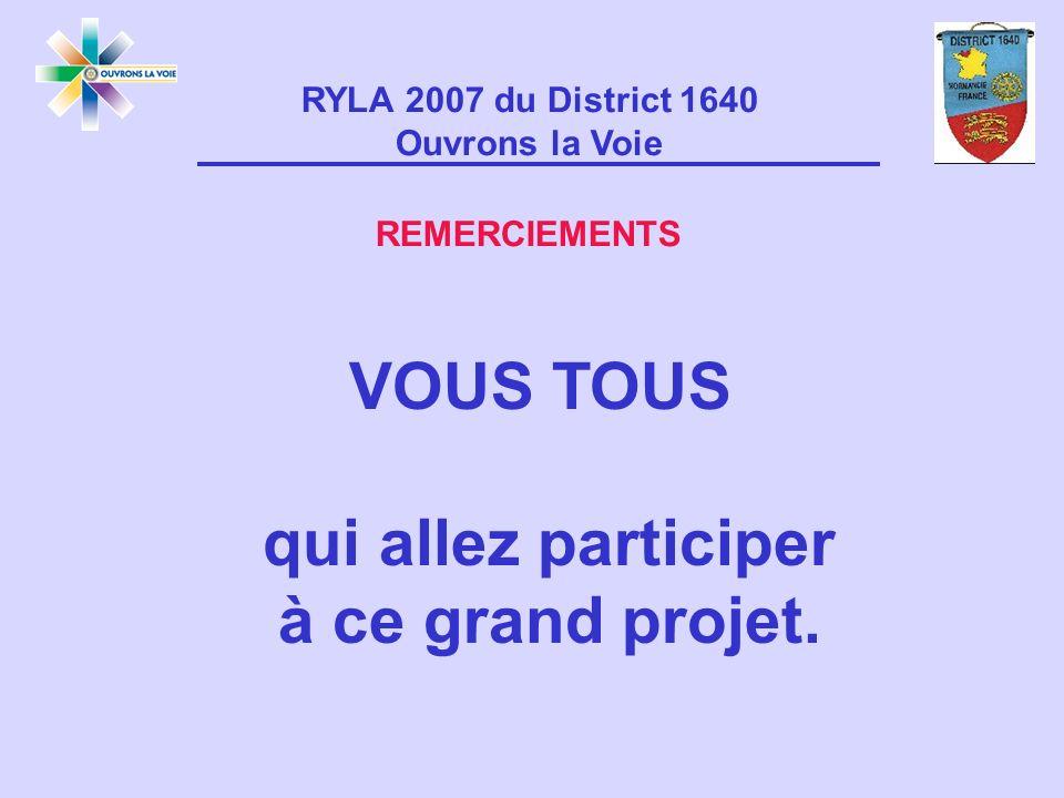 RYLA 2007 du District 1640 Ouvrons la Voie REMERCIEMENTS VOUS TOUS qui allez participer à ce grand projet.
