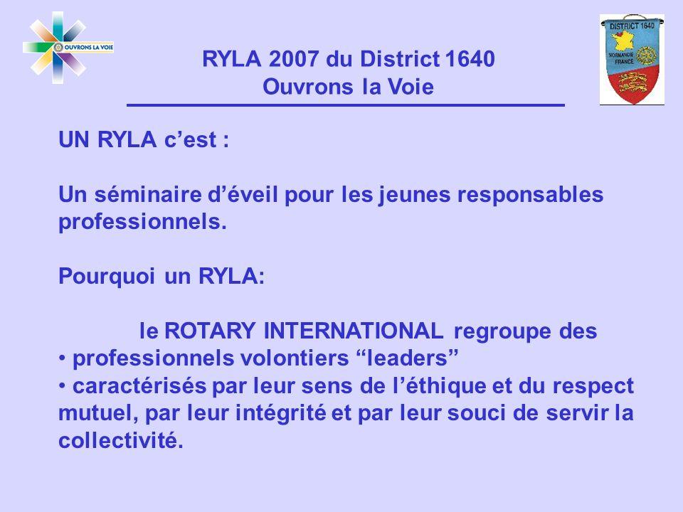 UN RYLA cest : Un séminaire déveil pour les jeunes responsables professionnels.