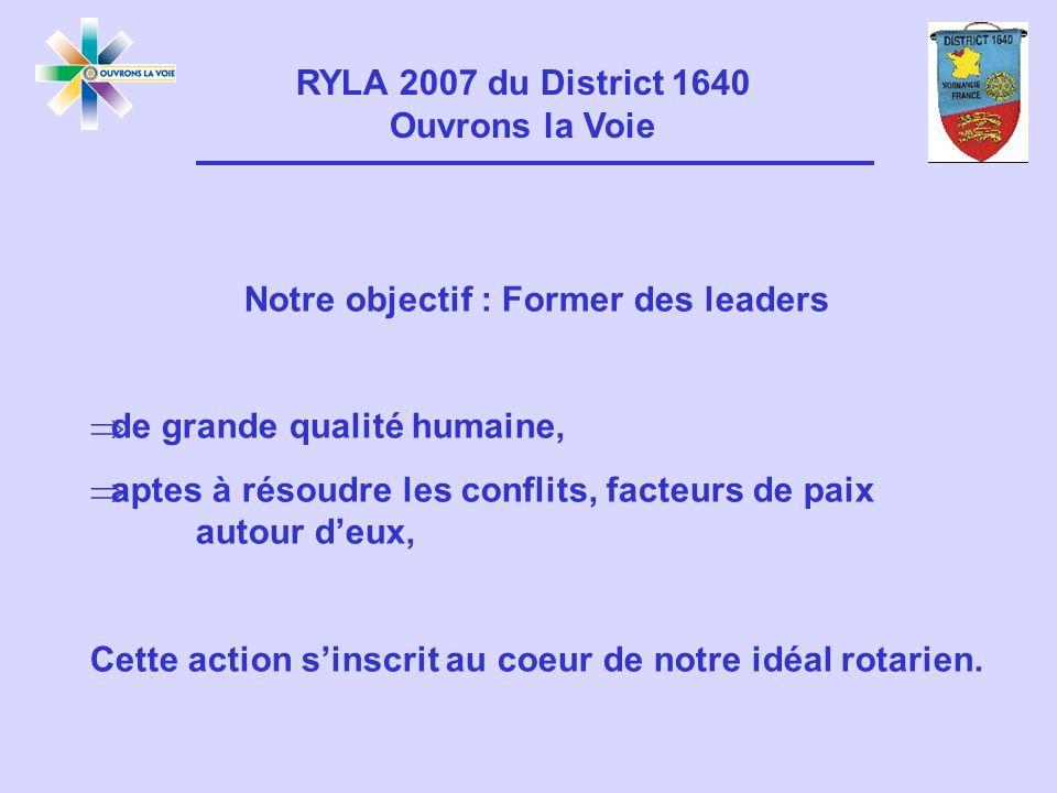 RYLA 2007 du District 1640 Ouvrons la Voie Notre objectif : Former des leaders de grande qualité humaine, aptes à résoudre les conflits, facteurs de paix autour deux, Cette action sinscrit au coeur de notre idéal rotarien.